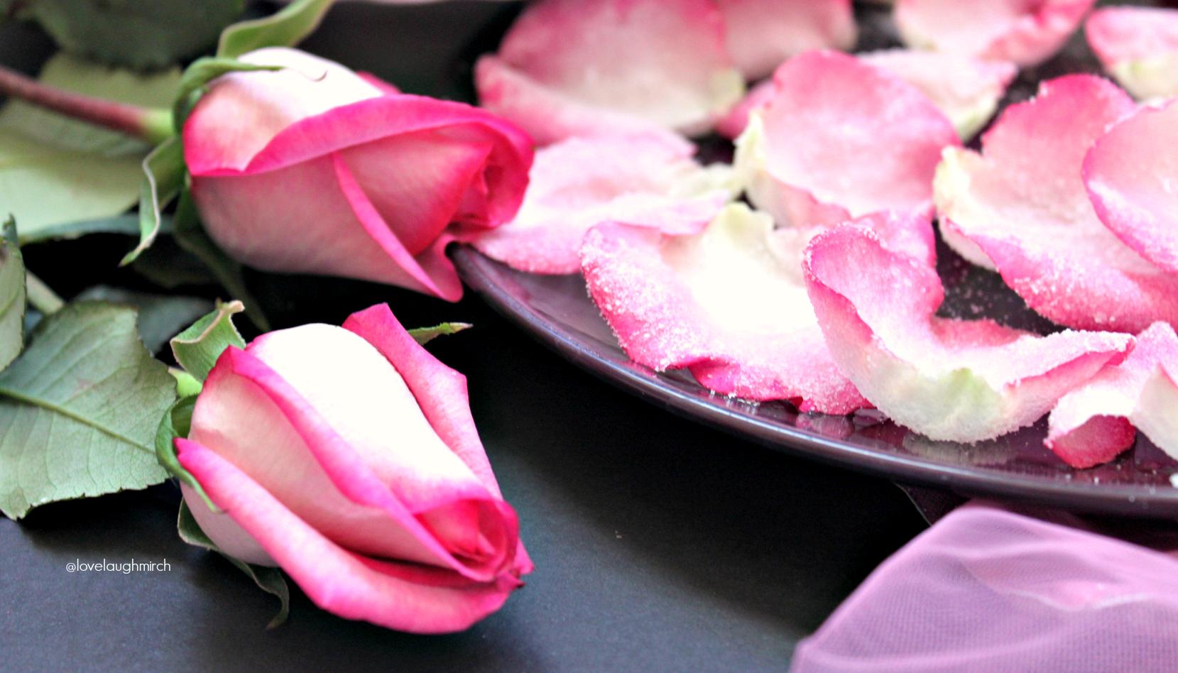 Vegan candied rose petals
